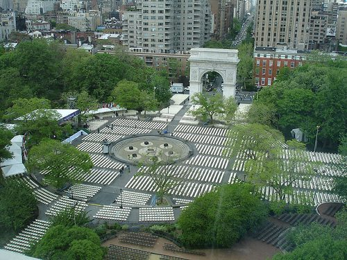 Washington Square Park Set up for NYU Graduation Venue in Previous Years
