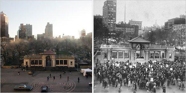 Union Sq Pavilion 2007 and 1960's Protest