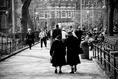 Two Ladies Walking through Washington Square Park