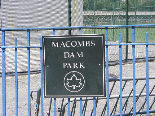 the sign for the former macombs dam park