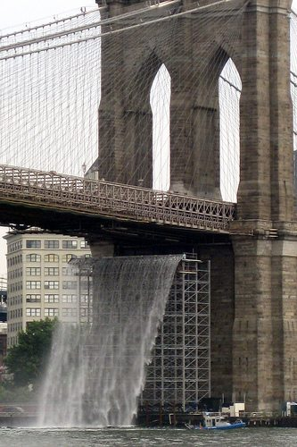 "Public Art ""arborcidal"" Waterfalls Brooklyn Bridge"