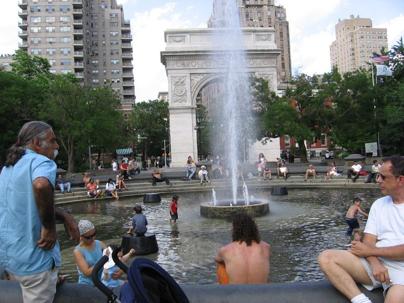 """""""Old"""" Fountain flowing with people"""