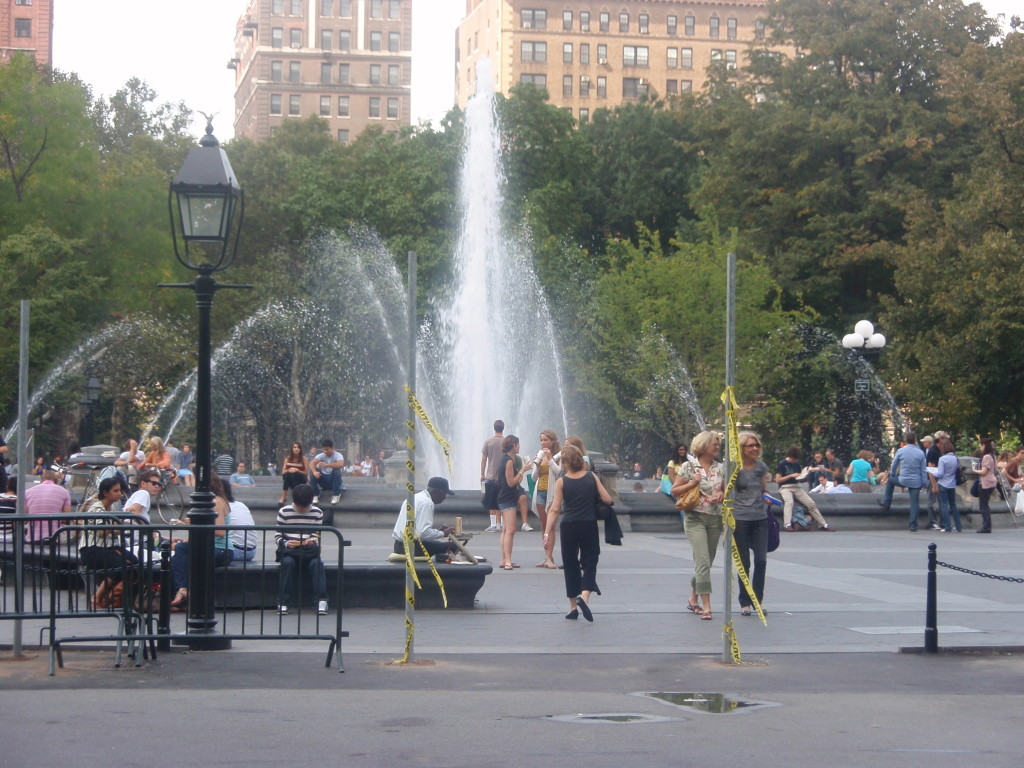 Fountain On! (Note Poles soon to close off Area)